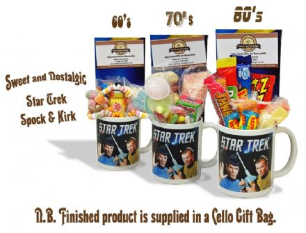Star Trek Spock and Kirk Mug with/without a space travelling selection of 60's/70s or 80's retro sweets.